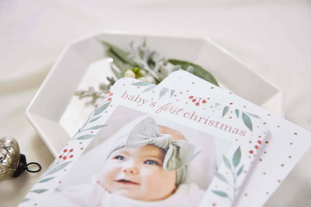 babys first christmas announcement card from Tiny Prints