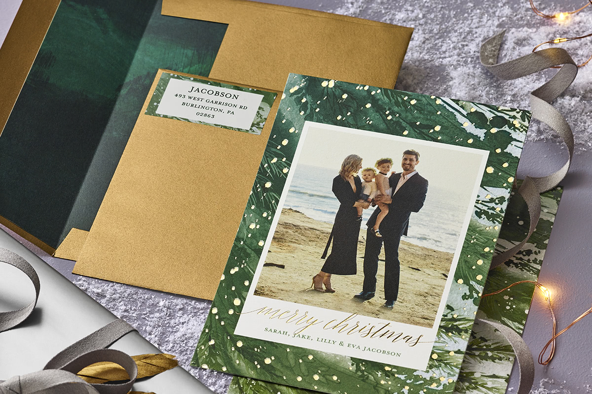 tips to take better christmas card photos with card and envelope