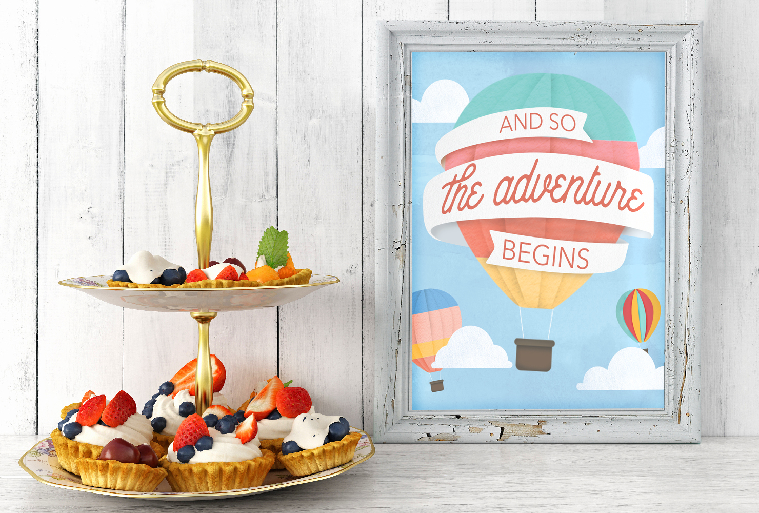 baby shower hot air balloon table sign.
